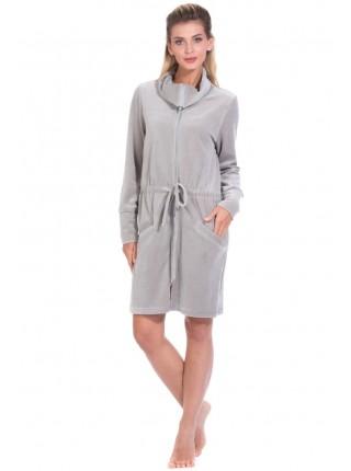 Велюровый халат на молнии La PURETÉ (PM 394) (Gris (серебристо-серый))