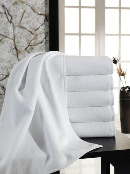 Большое махровое полотенце средней плотности. Цвет белый. 100х180 (ET) (белый)