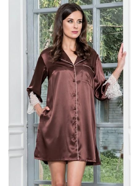 Халат-рубашка из натурального шелка MARILIN (3107) (шоколад)
