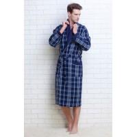 Мужской вафельный халат Gentelmen Style (E 10020) (тёмно-синий)