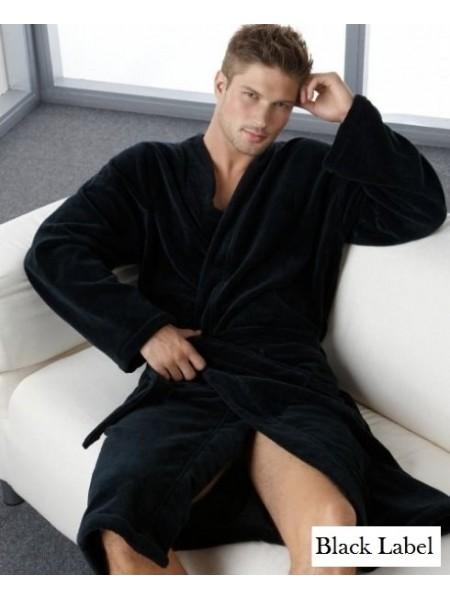 Мужской махровый халат Цвет: Черный (черный)