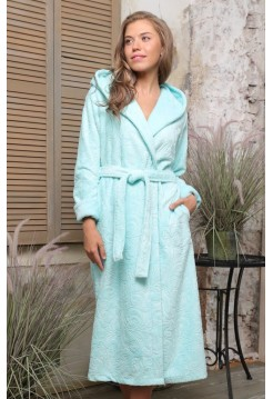 Бамбуковый женский халат Belinda с капюшоном (EFW) (бирюза)