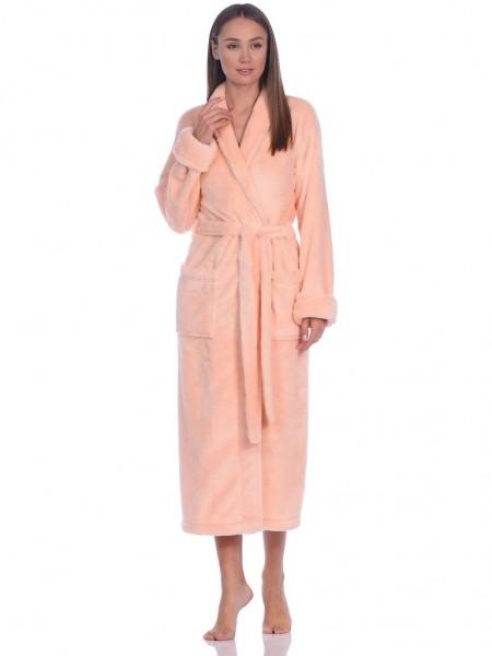 Удлиненный пушистый халат из велсофта Tendre (PM France 745) (персик)