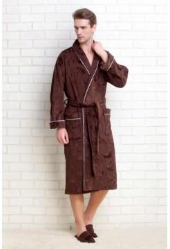 Мужской махровый халат STRONG MAN + тапочки в подарок (PM 923) (шоколадный)