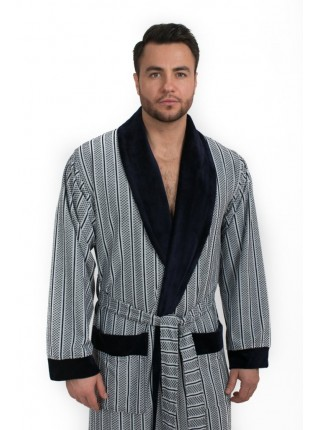 Мягкий велюровый халат из бамбука FARELL (EPP M124) (синий комбинированный)