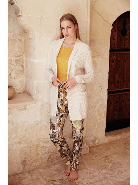 Стильный комплект - тройка. Вязанный кардиган, брюки и лонгслив Miss Loren (E 1609) (комбинированный)