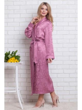Женский атласный халат из бамбука Silk bamboo (EN 9210) (сухая роза)