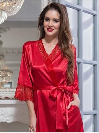 Шелковый халат-кимоно Flamenco (EM 2087) (красный)