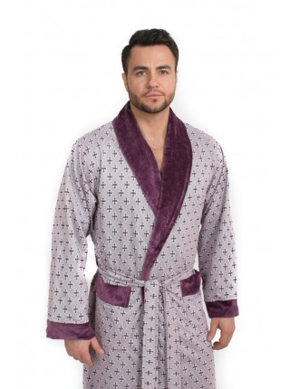 Мягкий велюровый халат из бамбука CRISTOF (EPP M122) (сливовый комбинированный)