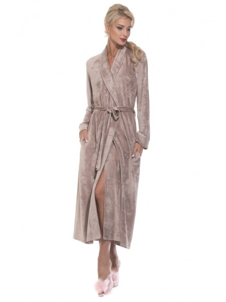 Шикарный велюровый халат Unique (PM 399) (коричневый)