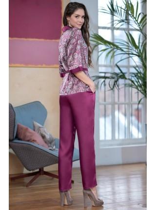 Шелковая пижама ADEL (EM 9406) (бургундия)
