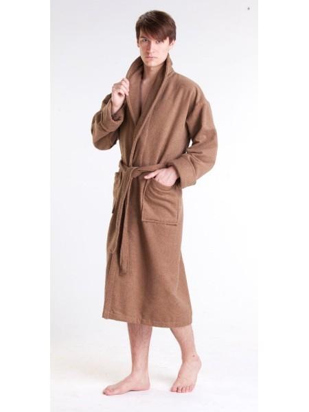 Мужской махровый халат Цвет: темно-бежевый (темно-кофейный)