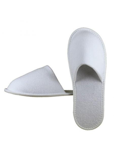 Махровые тапочки закрытый мыс (EVA 5 мм) (белый)