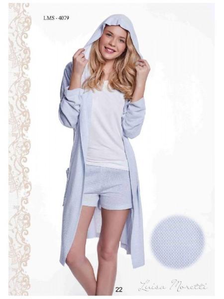 Комплект халат, майка и шорты Luisa Moretti (ESC 4079) (голубой)